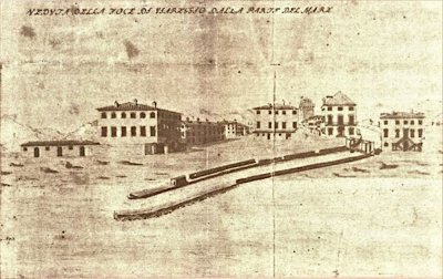 Veduta foce di Viareggio - Anno 1748
