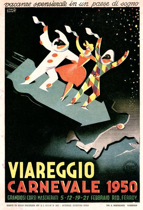 Manifesto ufficiale Carnevale di Viareggio 1950