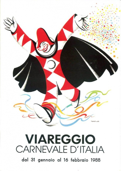 Manifesto ufficiale Carnevale di Viareggio 1988