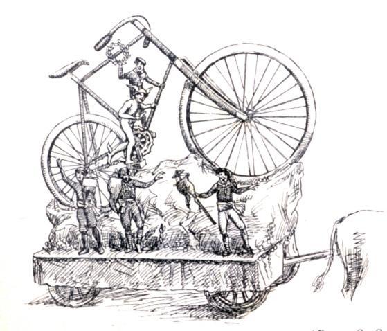 Il trionfo della bicicletta di O. Sadun - Carri piccoli - Carnevale di Viareggio 1885
