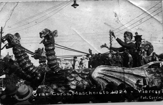 Il drago ovvero sogno dopo orgia carnevalesca di Raffaello Tolomei - Carri grandi - Carnevale di Viareggio 1924