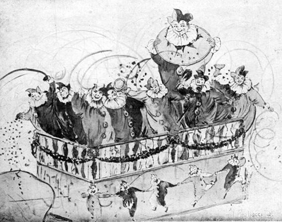I pagliacci di A. Balestri - Carri piccoli - Carnevale di Viareggio 1927
