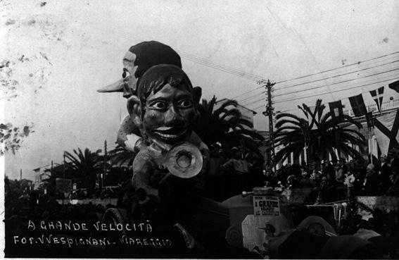 A gran velocita al carnevale di Michelangelo Marcucci e Raffaello Raffaelli - Carri piccoli - Carnevale di Viareggio 1929