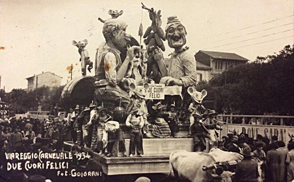 Due cuori felici di Carlo Francesconi - Carri piccoli - Carnevale di Viareggio 1934