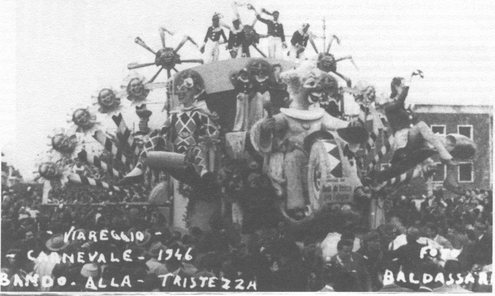 Bando alla tristezza, viva... di Alfredo e Michele Pardini, Ademaro Musetti - Carri grandi - Carnevale di Viareggio 1946