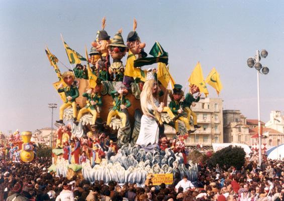 Spettacolo con sbandieratori di Raffaello Giunta - Carri grandi - Carnevale di Viareggio 1981