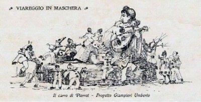 bozzetto Il carro di Pierrot di Umberto Giampieri - Carri grandi - Carnevale di Viareggio 1923