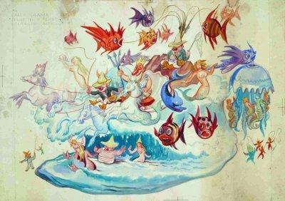 bozzetto Sogno di un pescatore di Alfredo Pardini - Carri grandi - Carnevale di Viareggio 1956