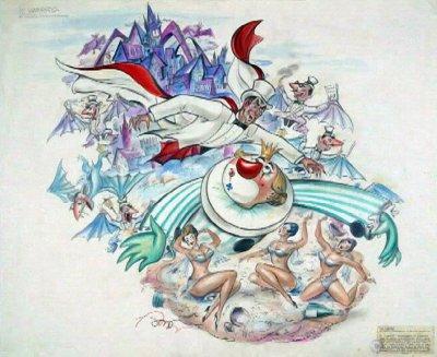 bozzetto Il vampiro di Carlo Francesconi, Sergio Barsella - Carri grandi - Carnevale di Viareggio 1961