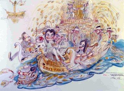 bozzetto Nozze d'oro di Nilo Lenci - Carri grandi - Carnevale di Viareggio 1969