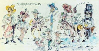 bozzetto Western all'italiana di Vittorio Lippi e Guidobaldo Francesconi - Mascherate di Gruppo - Carnevale di Viareggio 1969