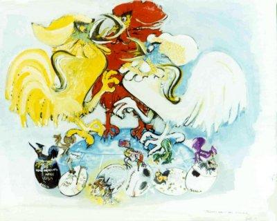 bozzetto Battibecco di Arnaldo Galli - Carri grandi - Carnevale di Viareggio 1971