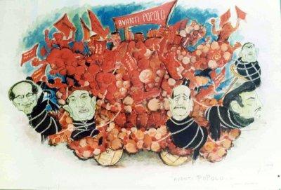 bozzetto Avanti popolo di Giovanni Lazzarini - Carri grandi - Carnevale di Viareggio 1972