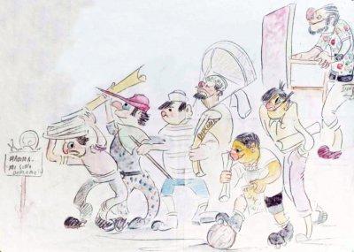 bozzetto Mamma mi sono diplomato di Giampaolo Puccetti - Mascherate di Gruppo - Carnevale di Viareggio 1972