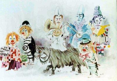 bozzetto Un sorriso per i clown di Guidobaldo Francesconi - Mascherate di Gruppo - Carnevale di Viareggio 1972