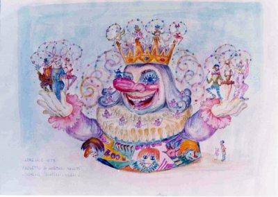 bozzetto Carnevale scacciapensieri di Ademaro Musetti - Carri grandi - Carnevale di Viareggio 1973
