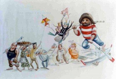 bozzetto Sulla spiaggia al di là del molo di Davino Barsella - Complessi mascherati - Carnevale di Viareggio 1973