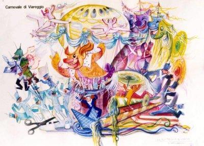 bozzetto La battaglia di carta di Sergio Baroni - Carri grandi - Carnevale di Viareggio 1974