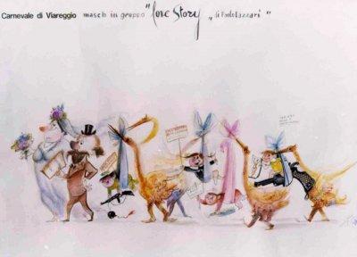 bozzetto Love story di Paolo Lazzari - Mascherate di Gruppo - Carnevale di Viareggio 1974
