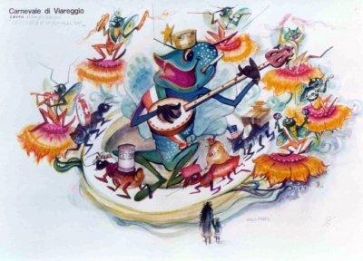 bozzetto La cicala e le formiche di Sergio Baroni - Carri grandi - Carnevale di Viareggio 1975