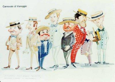 bozzetto Ritorno agli anni trenta di Carlo Bomberini - Mascherate di Gruppo - Carnevale di Viareggio 1975