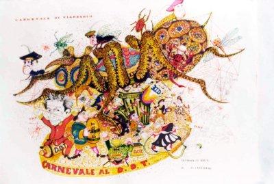 bozzetto Carnevale al DDT di Giovanni Lazzarini - Carri grandi - Carnevale di Viareggio 1976