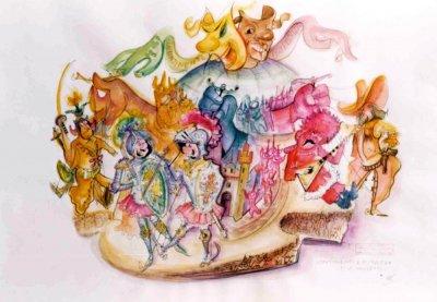 bozzetto Continenti e pupazzi di Ademaro Musetti - Carri grandi - Carnevale di Viareggio 1976