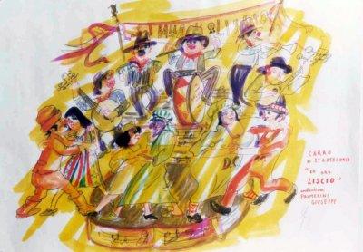 bozzetto Ed ora... liscio di Giuseppe Palmerini - Carri piccoli - Carnevale di Viareggio 1976