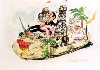 bozzetto L'altalena Kissinger di Davino Barsella - Carri piccoli - Carnevale di Viareggio 1976