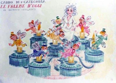 bozzetto Le falene d'oggi di Renato Verlanti - Carri grandi - Carnevale di Viareggio 1977