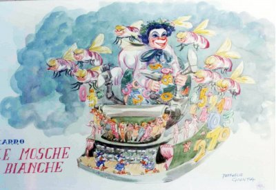 bozzetto Le mosche bianche di Raffaello Giunta - Carri grandi - Carnevale di Viareggio 1977