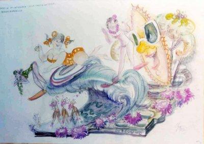 bozzetto Sulla cresta dell'onda di Sergio Barsella - Carri piccoli - Carnevale di Viareggio 1977