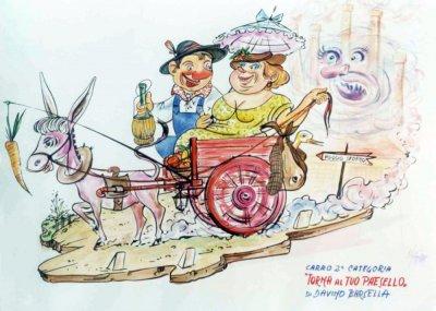 bozzetto Torna al tuo paesello di Davino Barsella - Carri piccoli - Carnevale di Viareggio 1977
