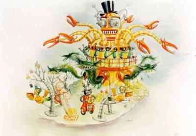 bozzetto 3001 odissea sulla Terra di Silvano Avanzini - Carri grandi - Carnevale di Viareggio 1979
