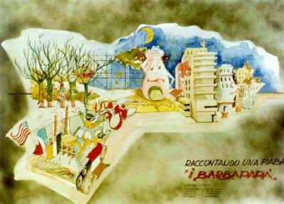 bozzetto Barbapapà di Giuseppe Palmerini e Paolo Lazzari - Carri piccoli - Carnevale di Viareggio 1979