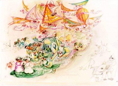 bozzetto Miracolo a Viareggio di Nilo Lenci - Carri grandi - Carnevale di Viareggio 1979