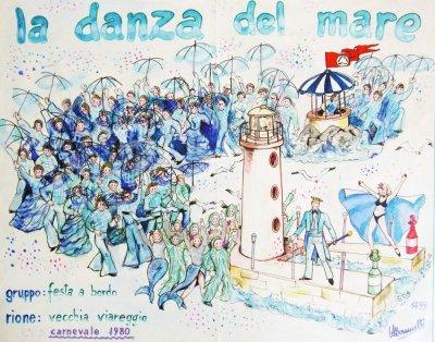bozzetto La danza del mare di Rione Vecchia Viareggio - Palio dei Rioni - Carnevale di Viareggio 1980