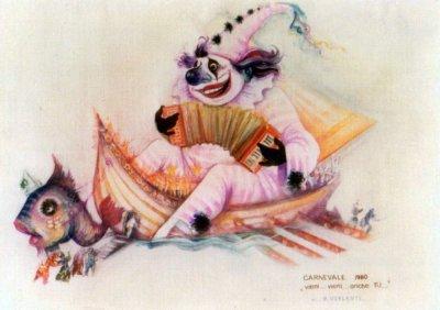 bozzetto Vieni, vieni anche tu di Renato Verlanti - Carri grandi - Carnevale di Viareggio 1980