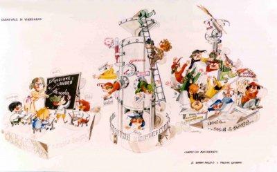 bozzetto Addio sogni di gloria di Giovanni Pardini, Angelo Romani - Mascherate di Gruppo - Carnevale di Viareggio 1981