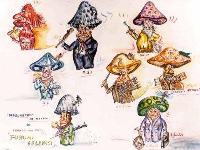 bozzetto Funghi velenosi di Piero Farnocchia - Mascherate di Gruppo - Carnevale di Viareggio 1981