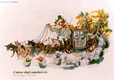 bozzetto Il paese degli scandalocchi di Eros Canova - Carri piccoli - Carnevale di Viareggio 1981