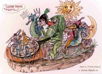 bozzetto Siamo tutti fritti di Davino Barsella - Carri piccoli - Carnevale di Viareggio 1981