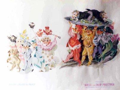 bozzetto Agnelli in salsa proletaria di Loris Lazzarini e Roberto Patalano - Carri piccoli - Carnevale di Viareggio 1982
