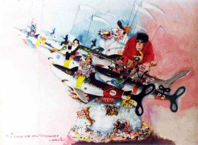 bozzetto I cavalieri dell'apocalisse di Arnaldo Galli - Carri grandi - Carnevale di Viareggio 1982