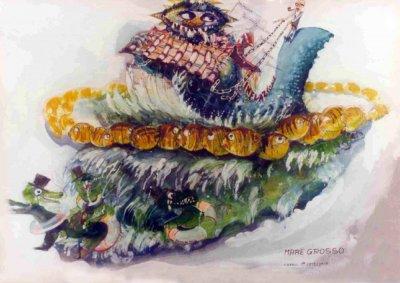 bozzetto Mare grosso di Arnaldo Galli - Carri grandi - Carnevale di Viareggio 1983