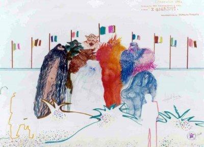 bozzetto I giganti di Rossella Disposito - Mascherate di Gruppo - Carnevale di Viareggio 1984