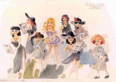bozzetto Le vedove allegre di Carlo e Giorgio Bomberini - Mascherate di Gruppo - Carnevale di Viareggio 1984