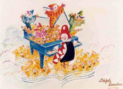 bozzetto Sinfonia carnevalesca di Eros Canova e Roberto Alessandrini - Carri piccoli - Carnevale di Viareggio 1984