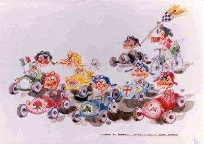 bozzetto Corsa al premio di Roberto Musetti - Mascherate di Gruppo - Carnevale di Viareggio 1985