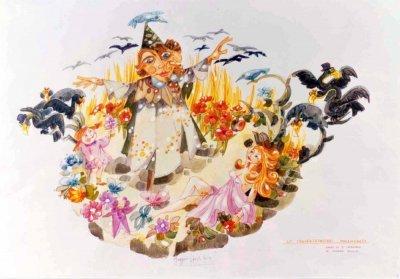 bozzetto Lo spaventapasseri innamorato di Giovanni Maggini - Carri piccoli - Carnevale di Viareggio 1985